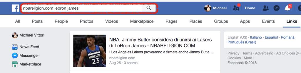 motore di ricerca facebook