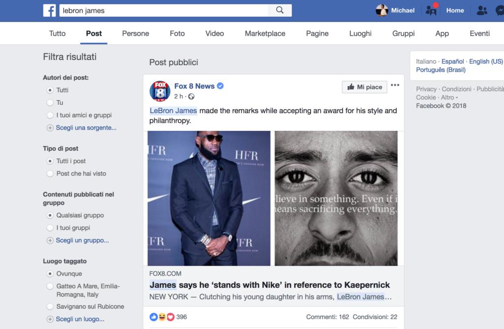 motore ricerca facebook post
