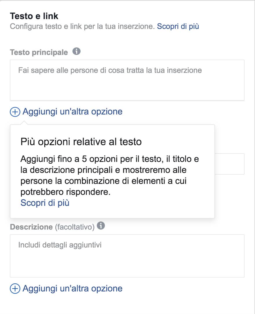 multi testo annunci facebook ads