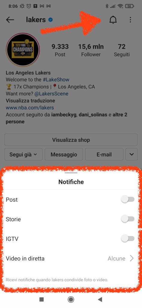 come attivare notifiche su profili instagram