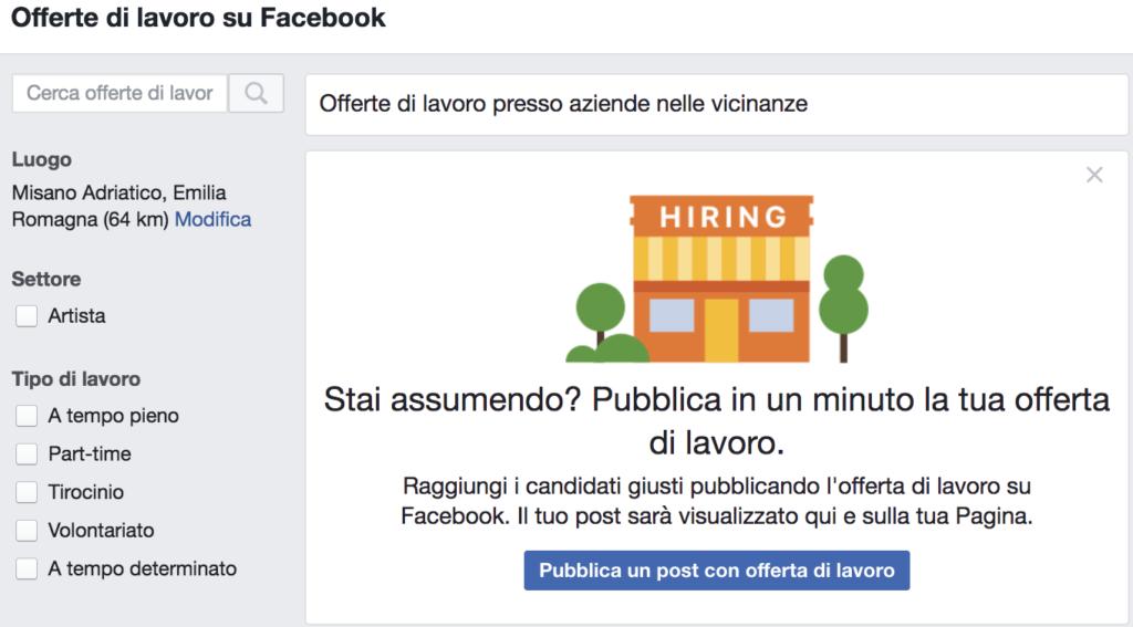 offerte lavoro facebook