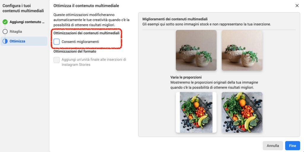 ottimizzazione automatica facebook ads inserzioni