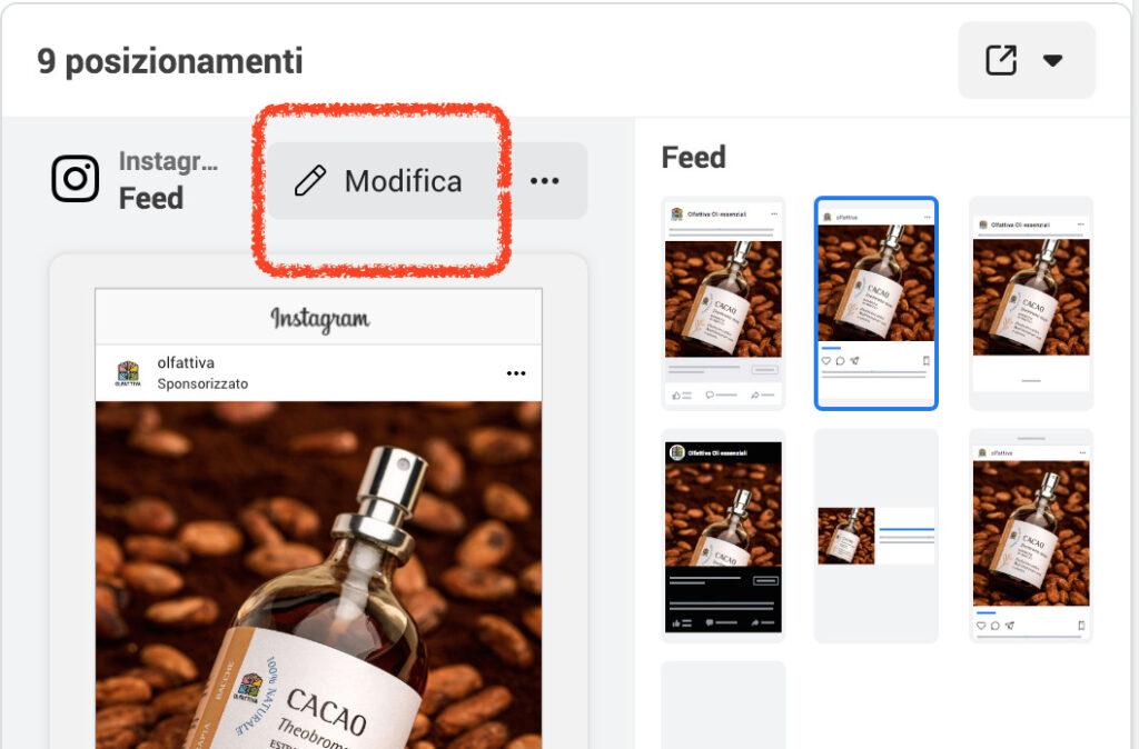 personalizzazione posizionamento instagram ads