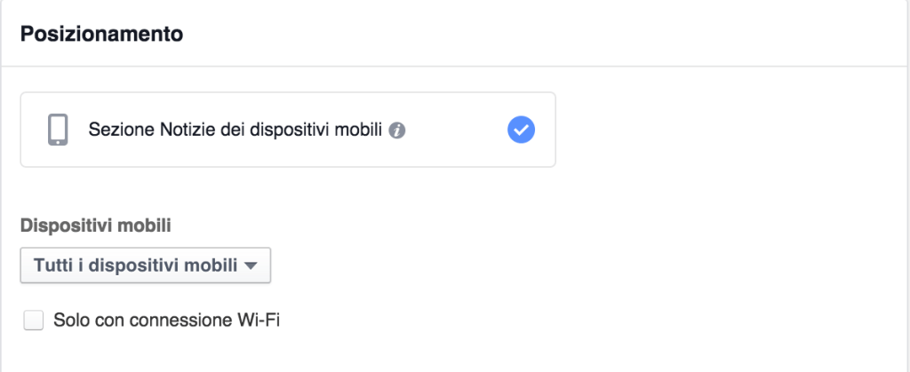 posizionamento mobile annunci facebook