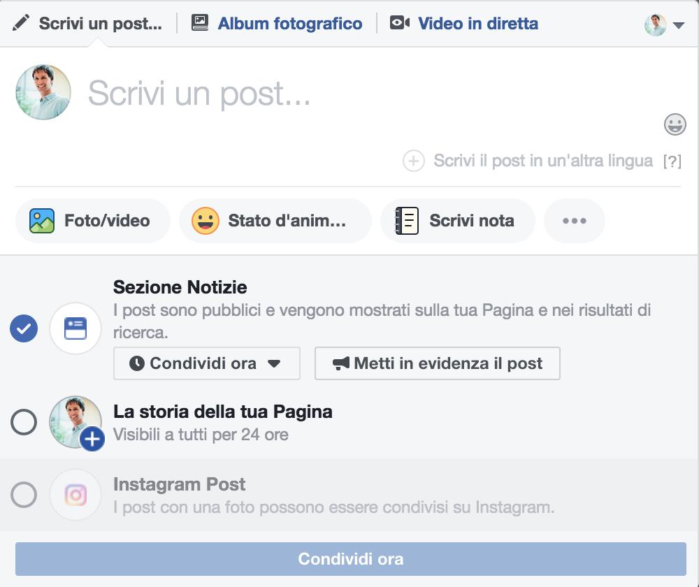 postare su instagram da pagina facebook