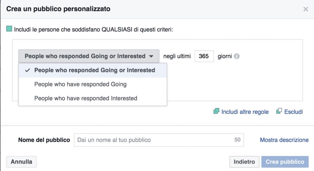 pubblico-personalizzato eventi facebook