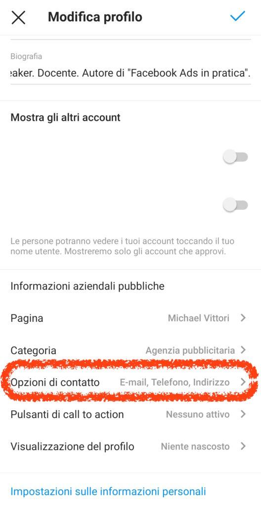 collegamento whatsapp instagram