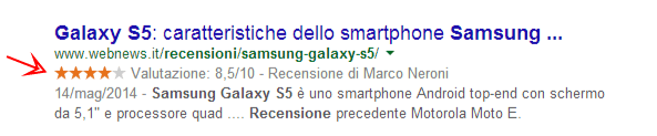 recensioni rich snippets