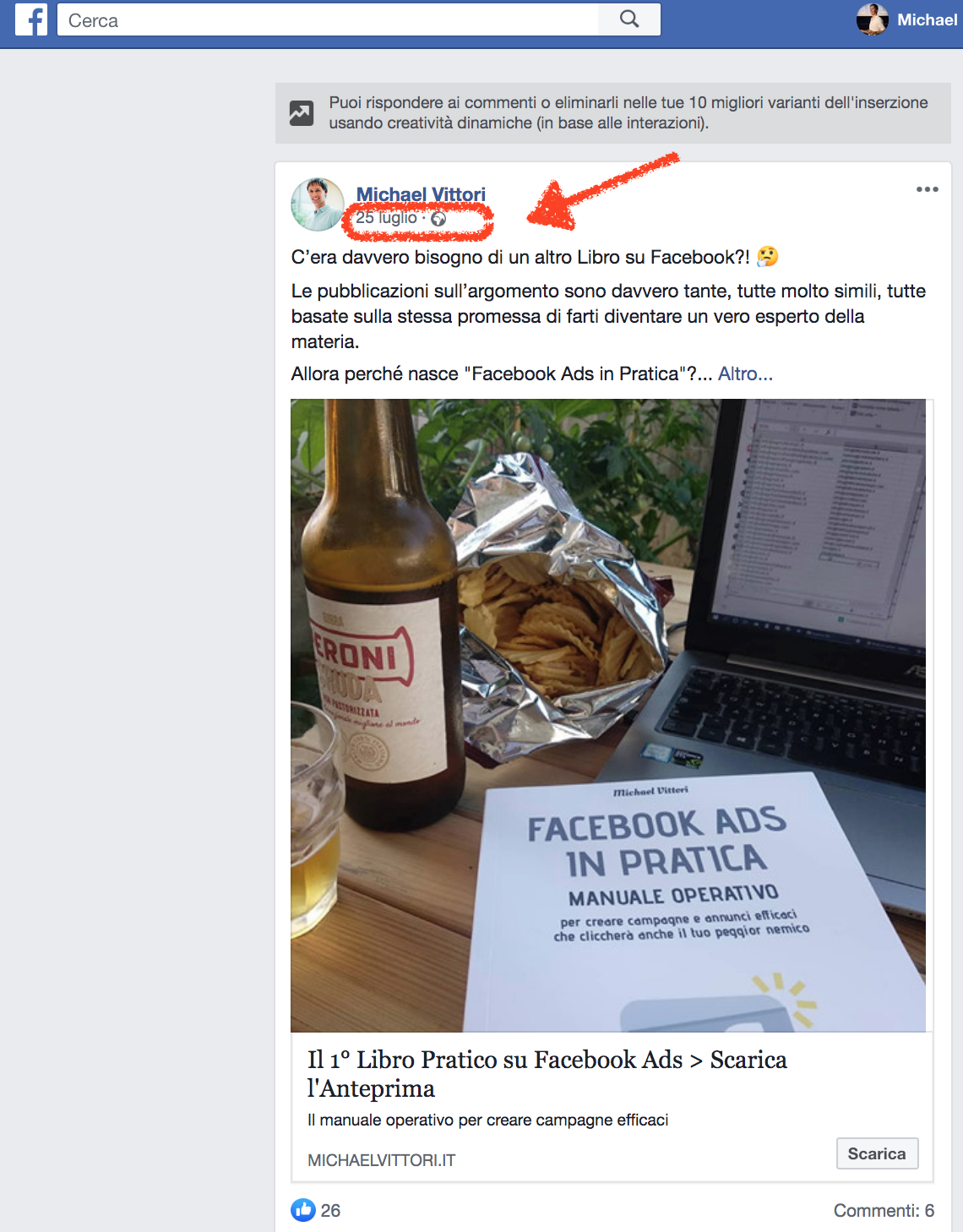 recuperare post id creativita dinamiche facebook ads