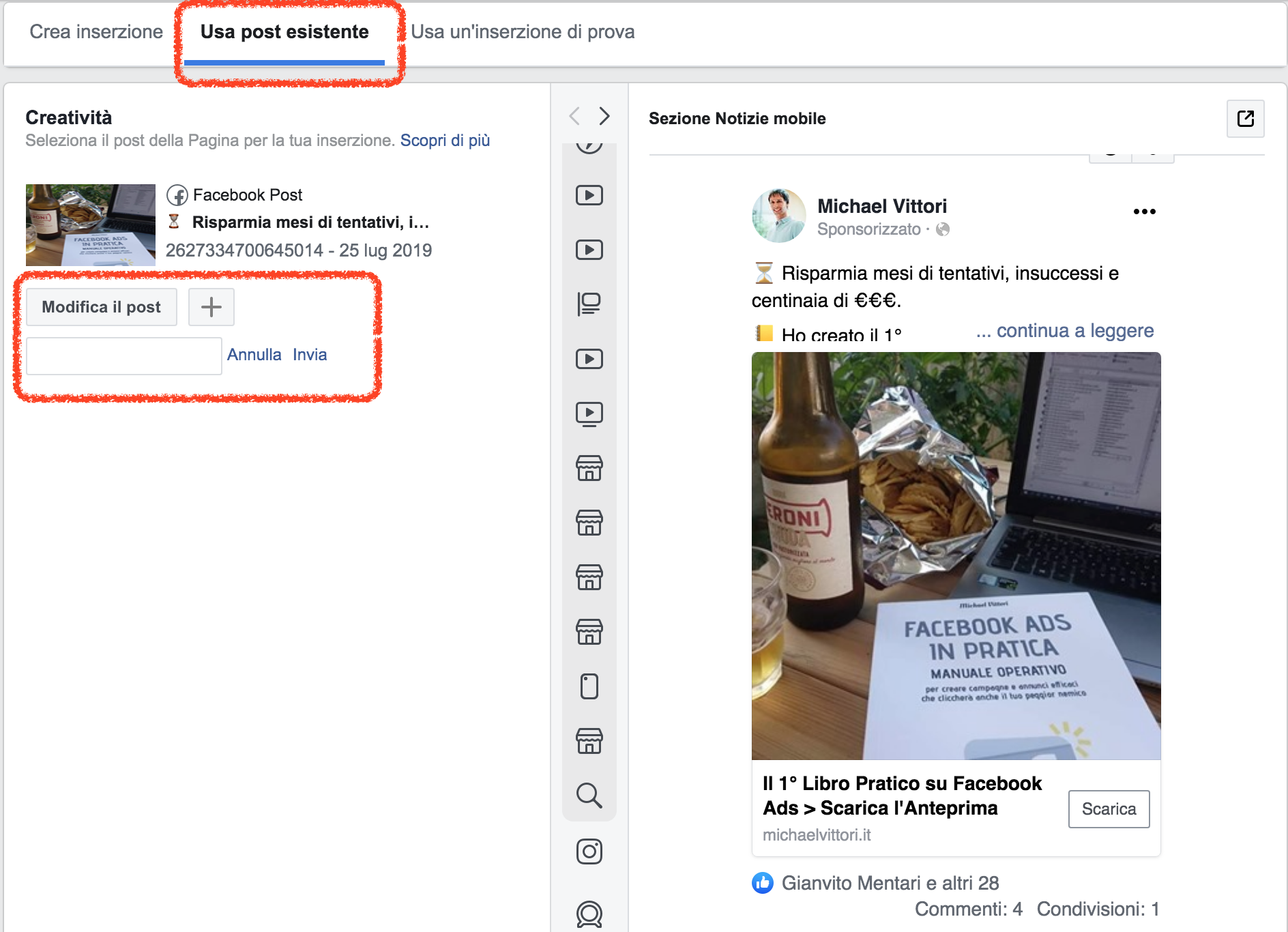 recupero post id facebook ads creativita dinamiche