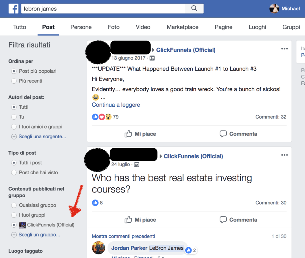 ricerche facebook