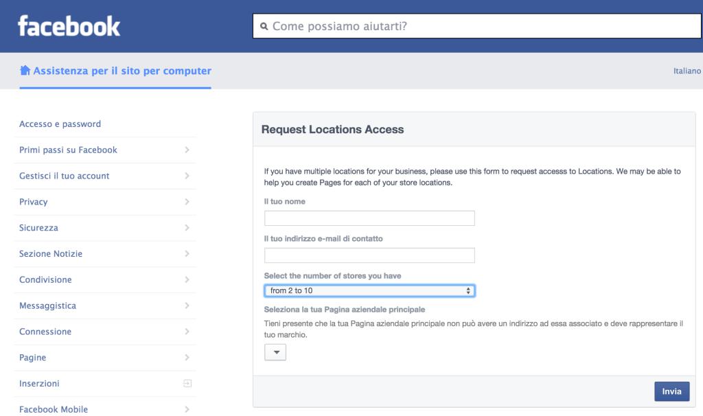 richiesta attivazione facebook locations