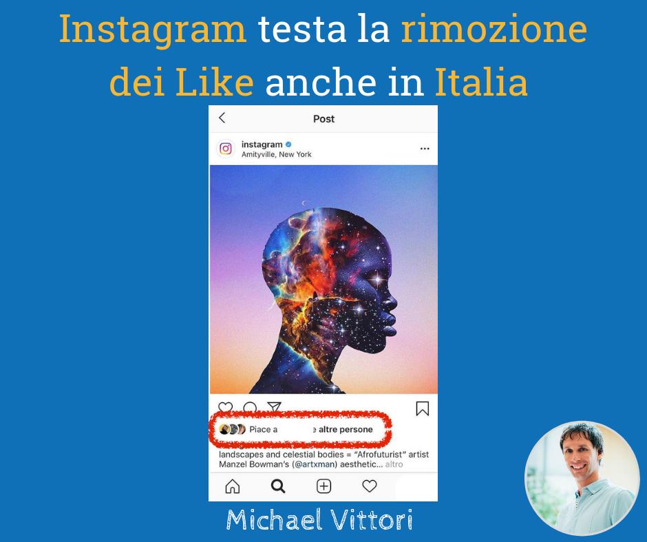 rimozione like instagram