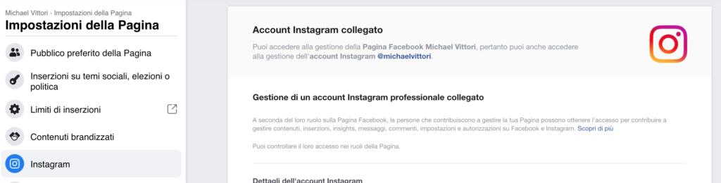 come scollegare pagina facebook e instagram