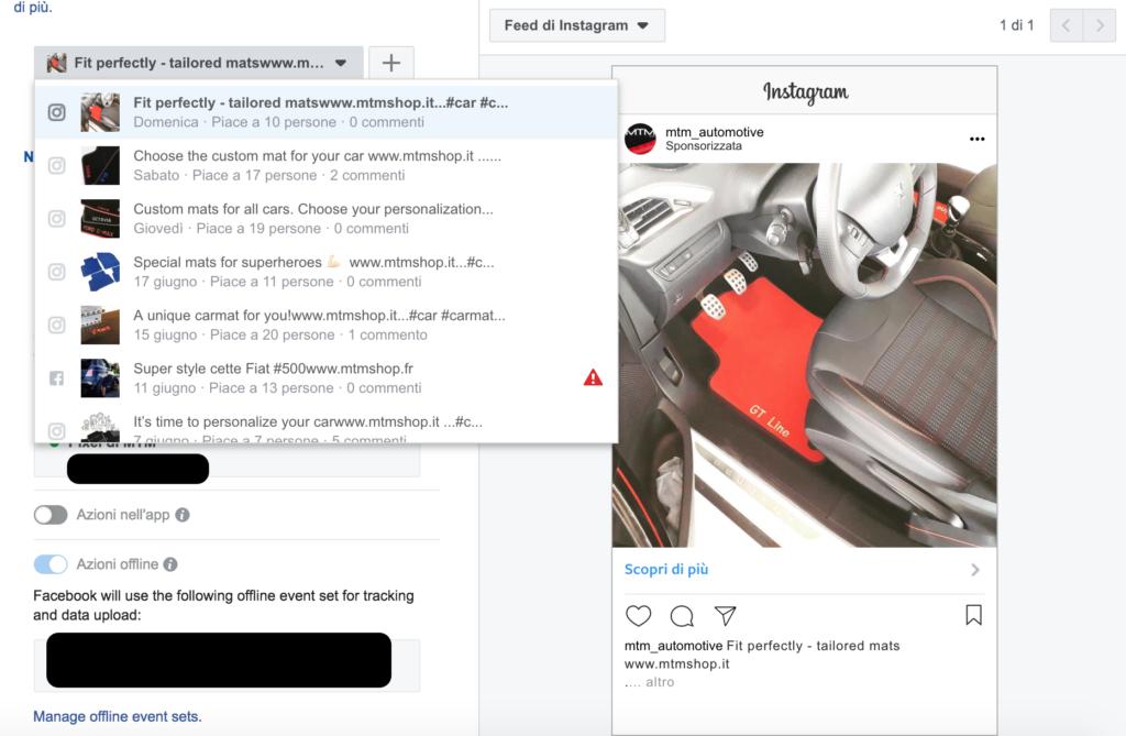 sponsorizzazione post instagram