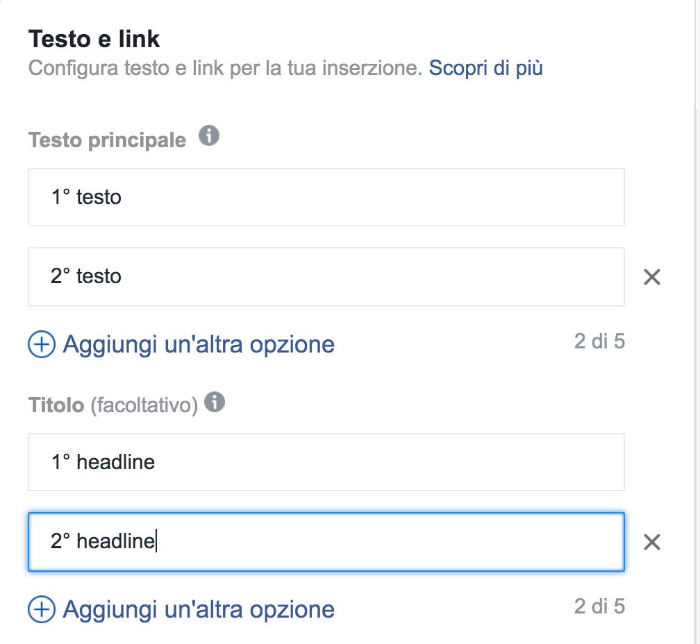 testo dinamico inserzioni facebook