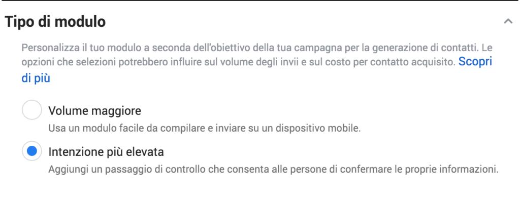 tipologia modulo lead ads facebook