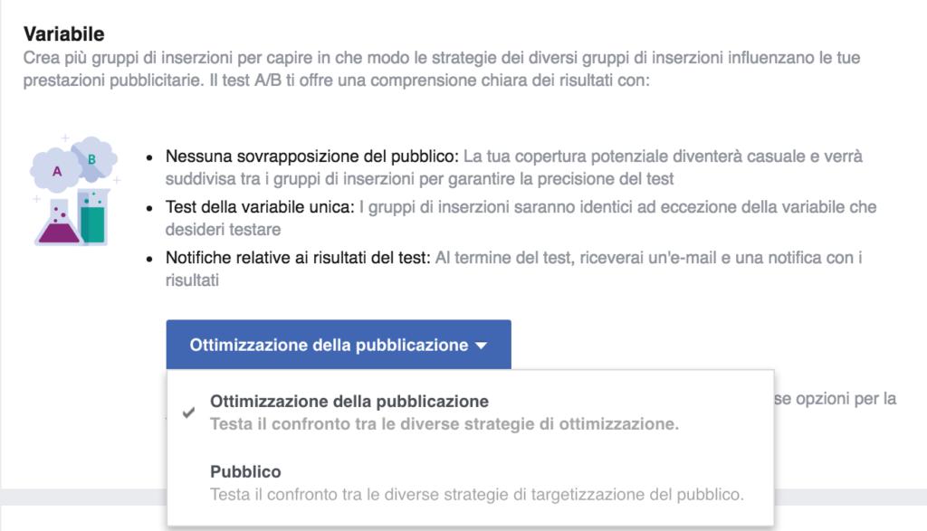 variabile ab testing annunci facebook