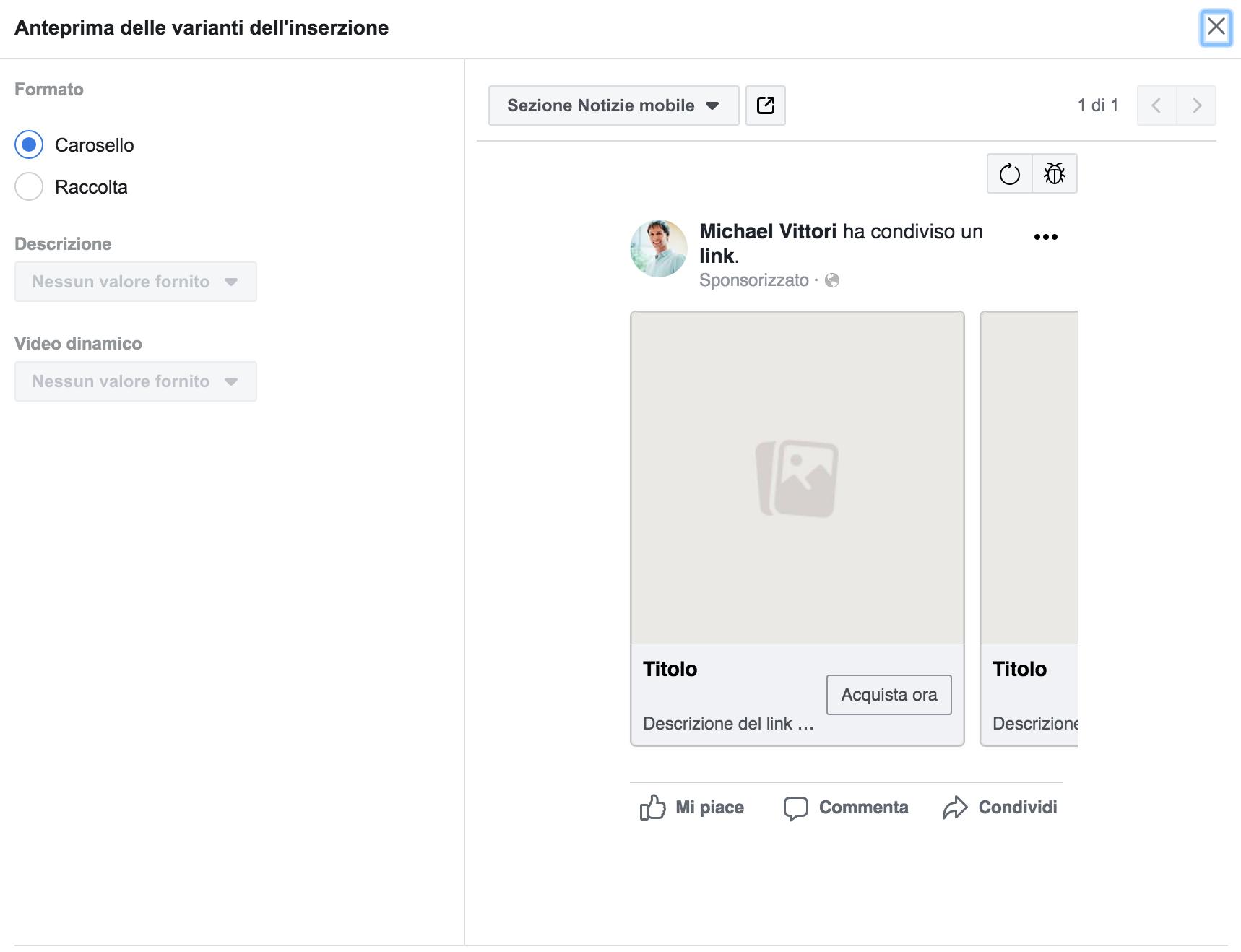 varianti annunci formato dinamico fb ads