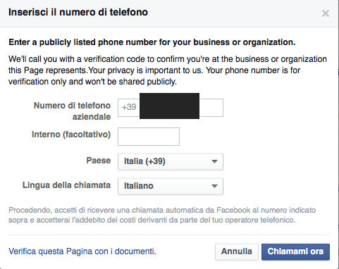verifica pagina facebook local