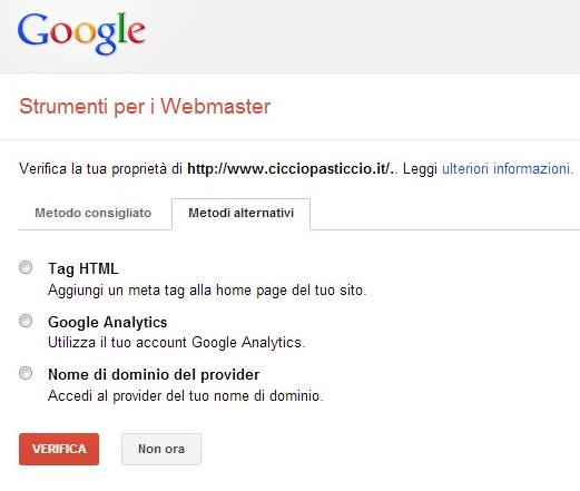 verifica webmaster tools google