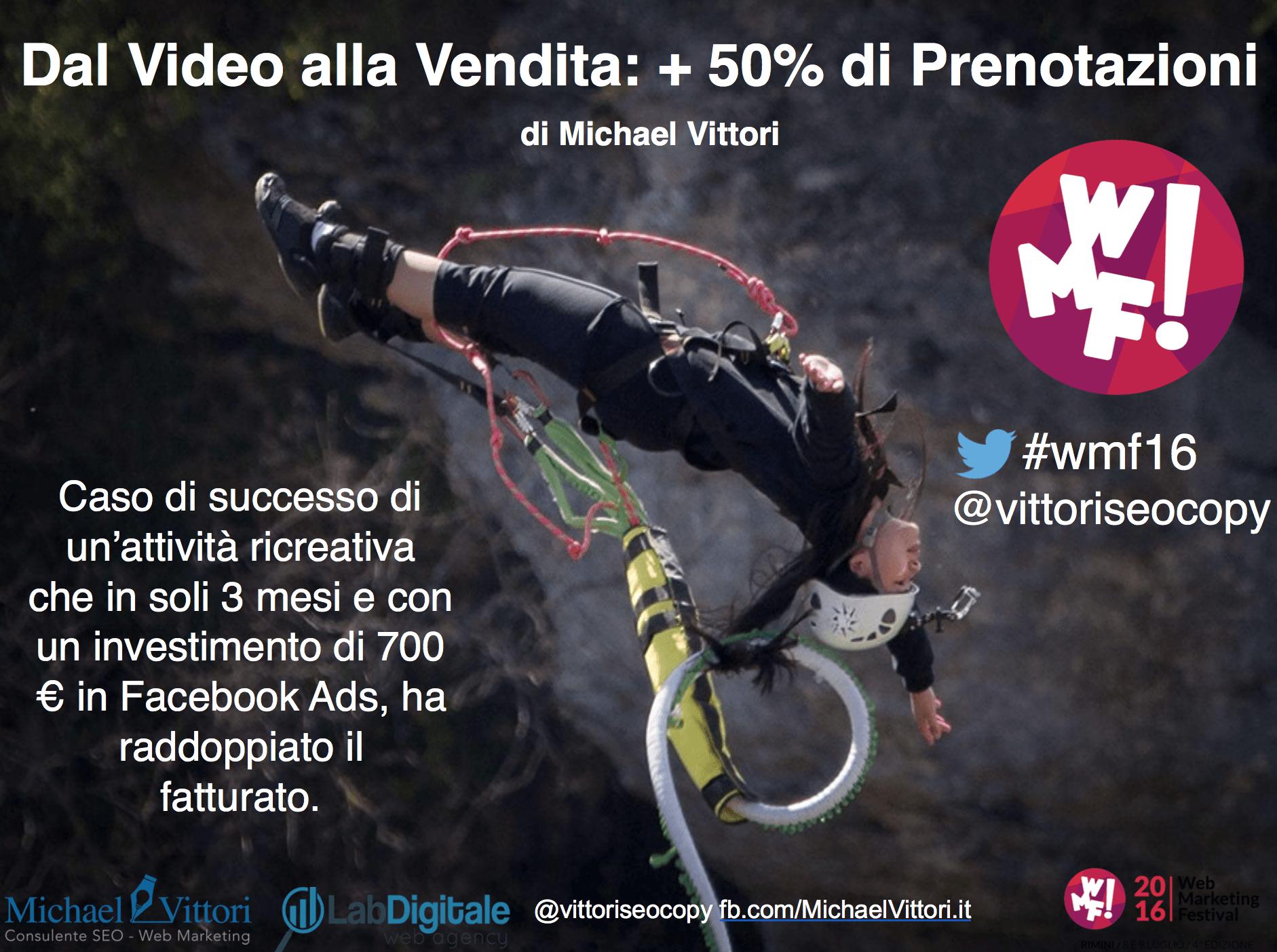 Facebook Ads – Dal Video alla Vendita: +50% di Prenotazioni @ WMF 2016